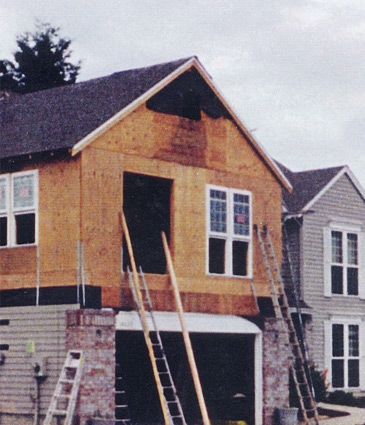 Garage exterior during construction.