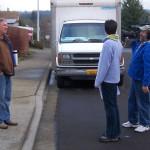 Photo of John Sramek talking to the film crew.