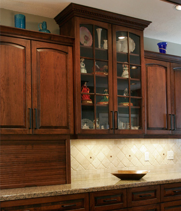 Upper cabinets in remodeled kitchen