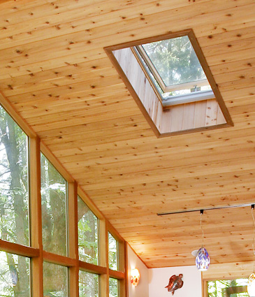 Close up of cedar ceiling in pool room addition
