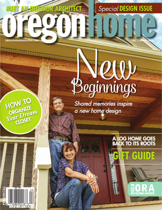 Cover of Oregon Home magazine showing happy couple on their front porch